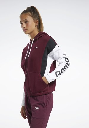 TRAINING ESSENTIALS LOGO HOODIE - Sudadera con cremallera - burgundy