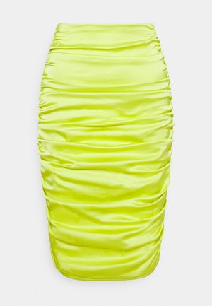 RUCHED MIDI SKIRT - Pencil skirt - lime