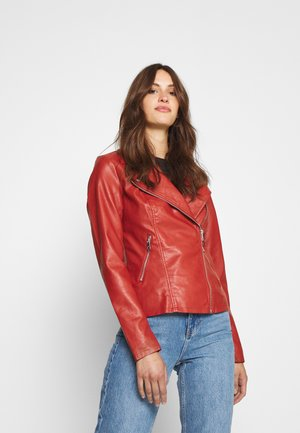 ONLMELISA BIKER - Faux leather jacket - red ochre