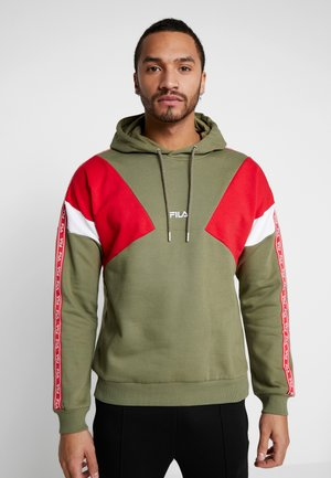 UMAR HOODY - Felpa con cappuccio - deep lichen green/true red/bright white