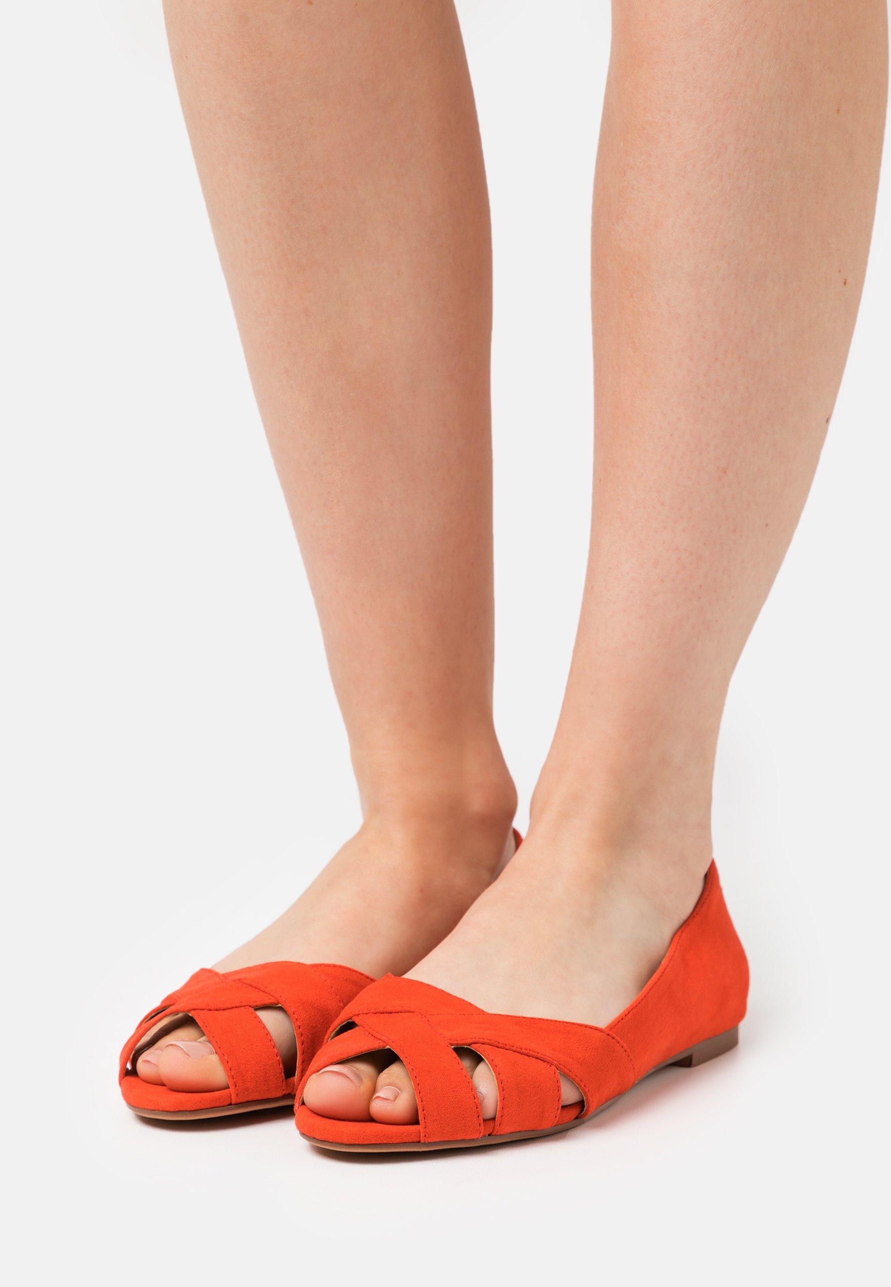 Femme Ballerines à bout ouvert - orange