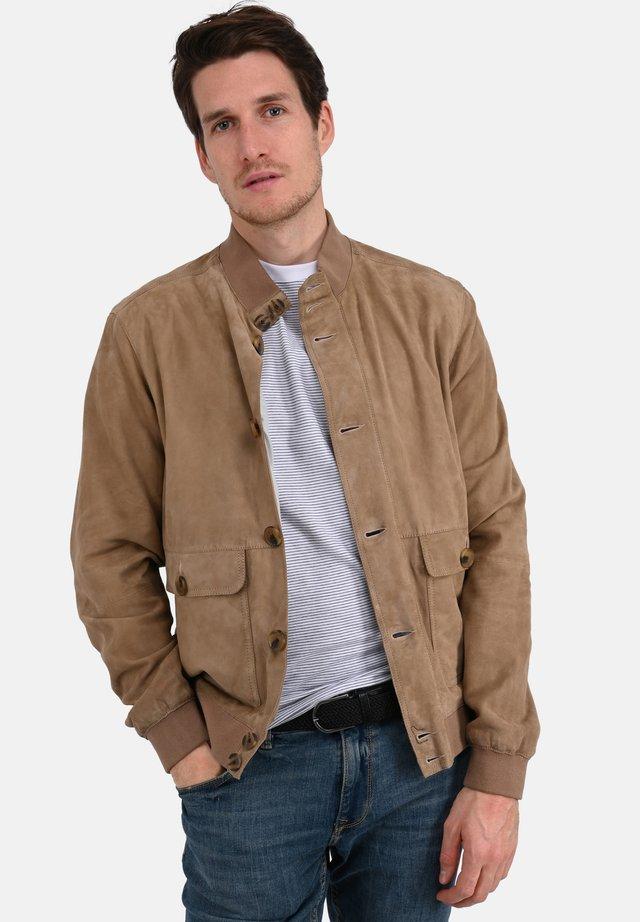 SERGIO - Leather jacket - beige