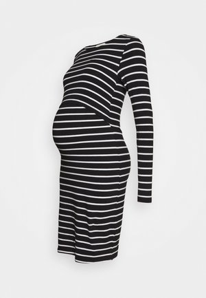 NURSING FUNCTION long sleeve stripe dress - Jerseykjole - black/white