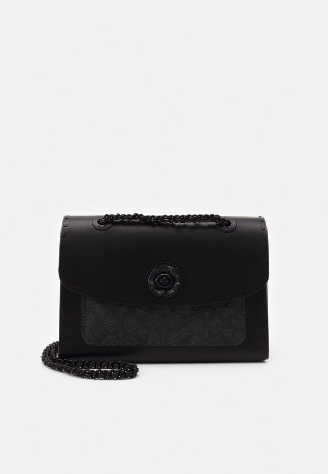 SIGNATURE BORDER RIVETS PARKER SHOULDER BAG - Borsa a mano - charcoal black