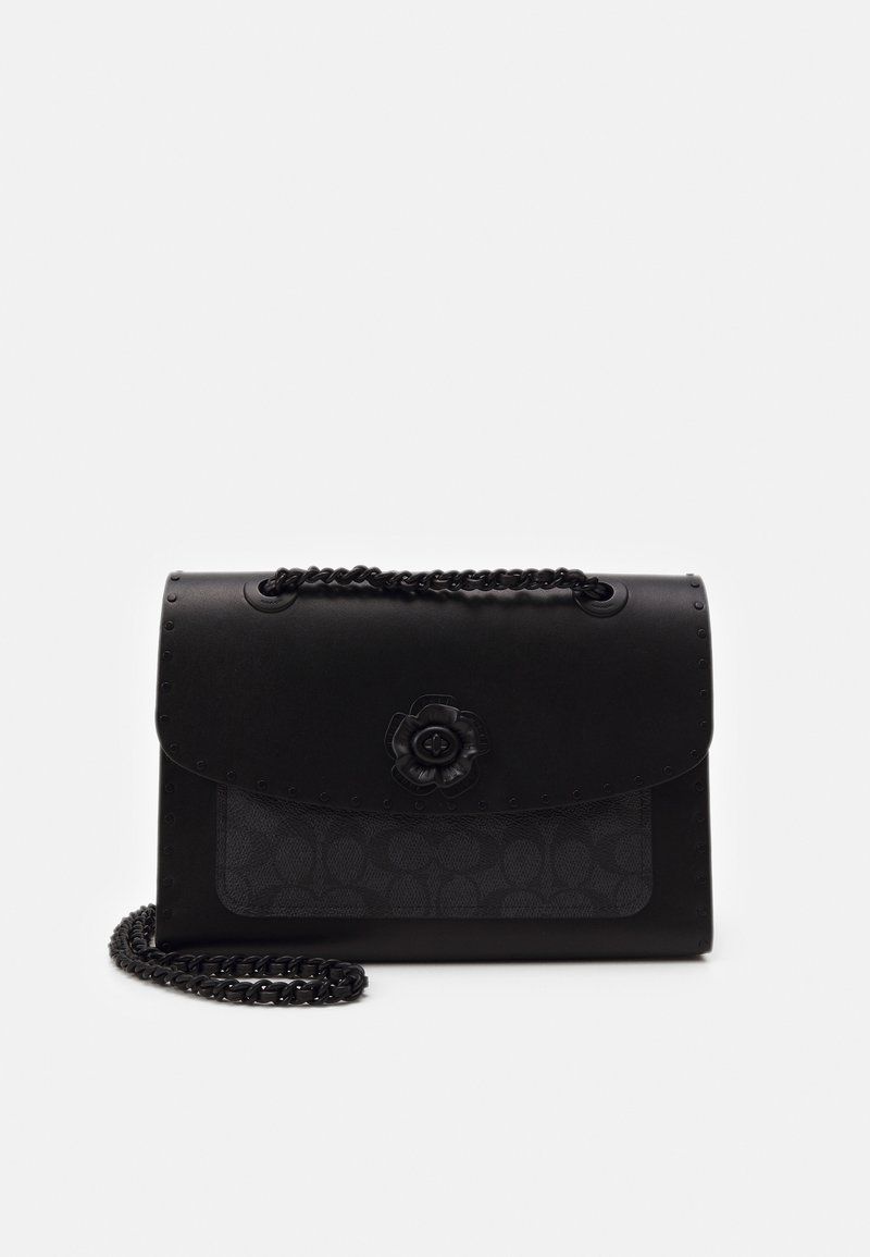 Coach - SIGNATURE BORDER RIVETS PARKER SHOULDER BAG - Sac à main - charcoal black