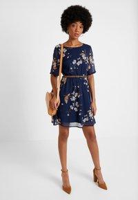 Vero Moda - VMCARINA BELT SHORT DRESS - Day dress - black iris/gabby - 1