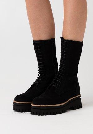 LISBOA - Šněrovací kotníkové boty - black