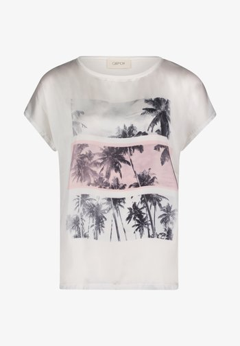 Print T-shirt - weiß rosa