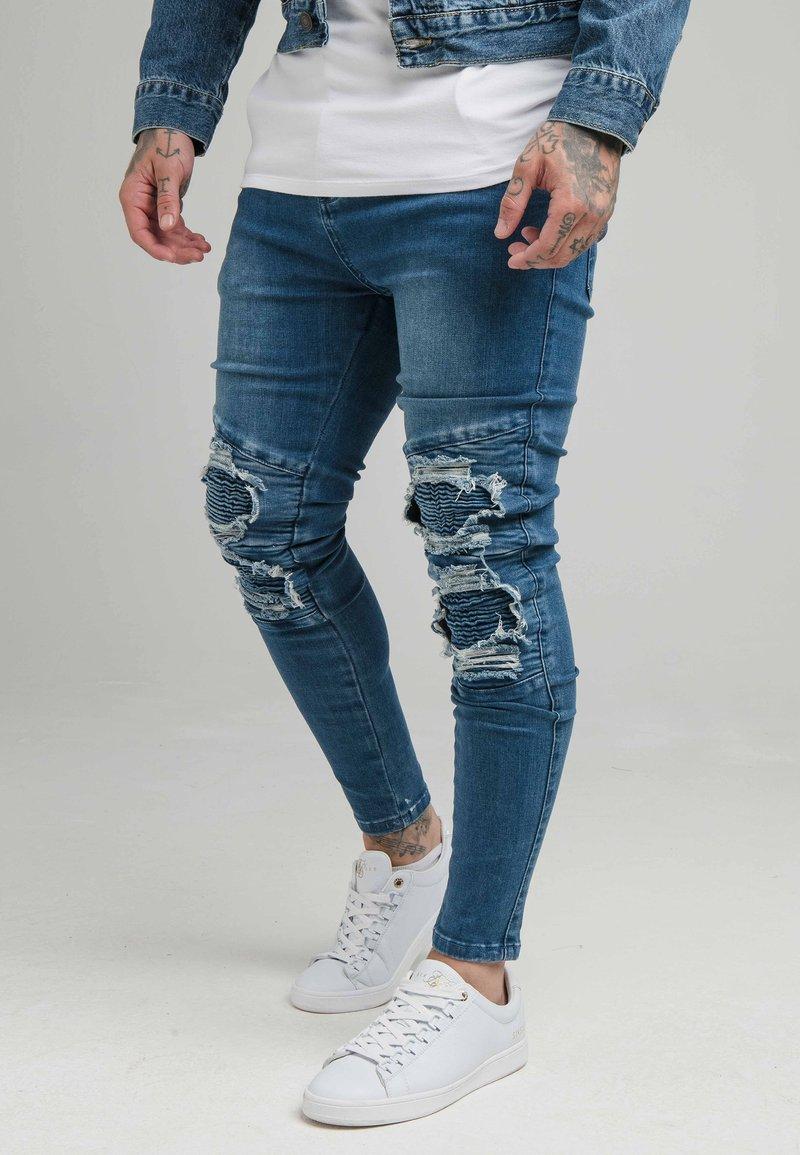 SIKSILK - BIKER - Skinny džíny - blue