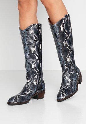 Cowboy/Biker boots - pazifik/cognac