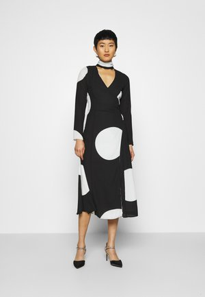 MOCK NECK WRAP DRESS - Maxi dress - black and white