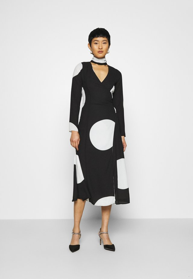MOCK NECK WRAP DRESS - Maxiklänning - black and white
