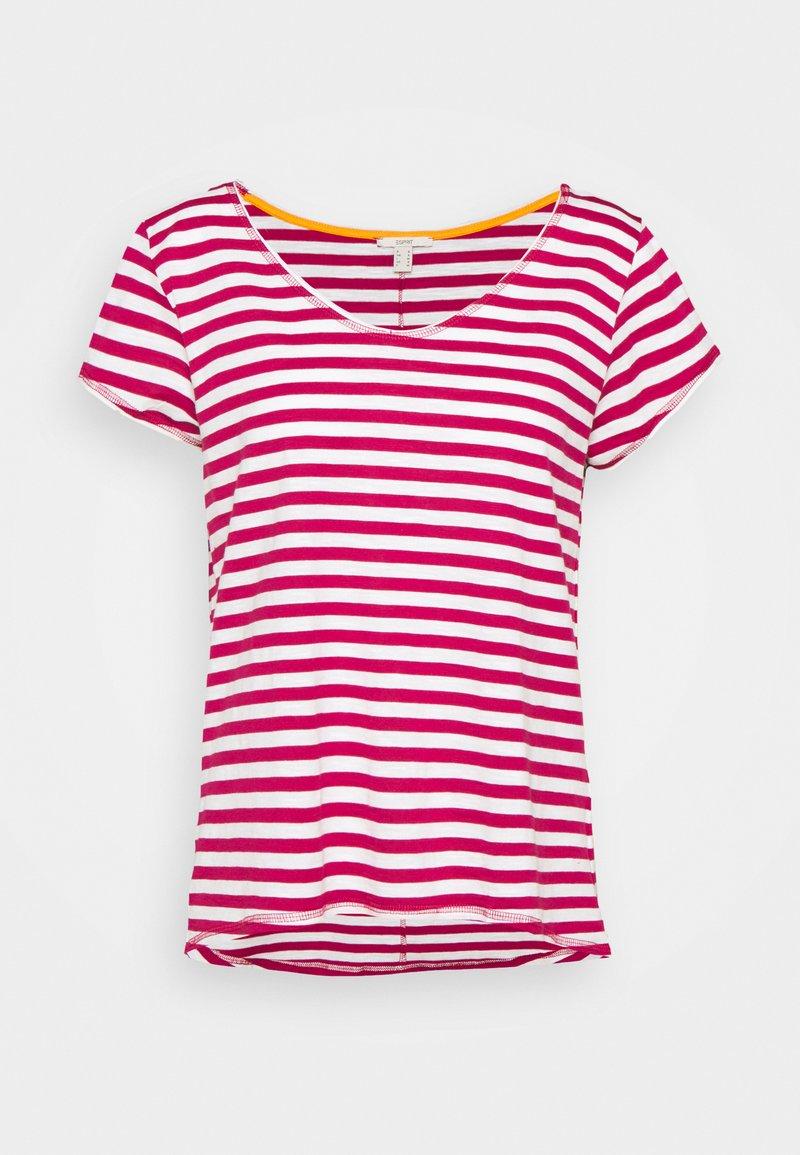Esprit - SLUB - Print T-shirt - dark pink