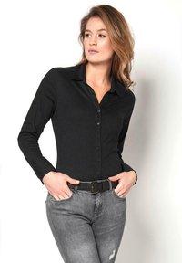DESOTO - Button-down blouse - black uni - 0