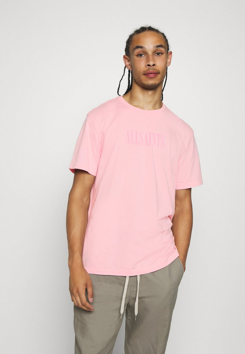 AllSaints - TONAL BRACKET CREW - Print T-shirt - washed puty/opal pink
