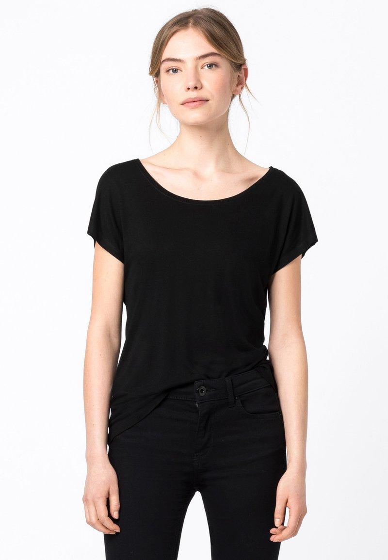 HALLHUBER - WEIT GESCHNITTENES - Basic T-shirt - schwarz