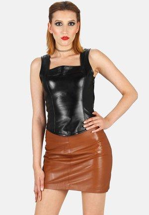 Leather skirt - cognac