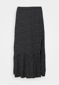 Abercrombie & Fitch - RUFFLE HI SLIT MIDI SKIRT - A-line skirt - black - 0