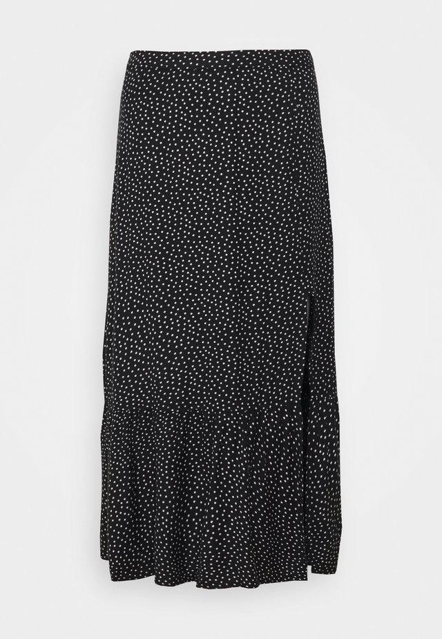 RUFFLE HI SLIT MIDI SKIRT - A-line skirt - black