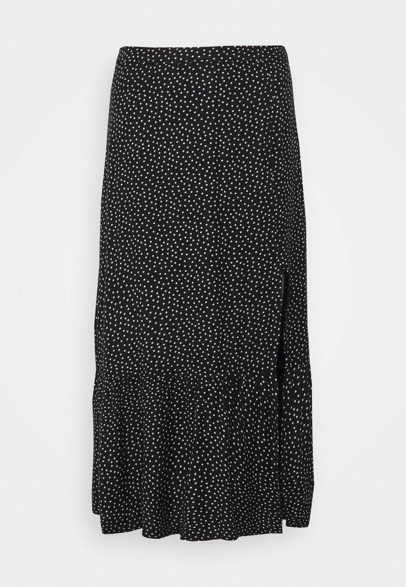 Abercrombie & Fitch - RUFFLE HI SLIT MIDI SKIRT - A-line skirt - black