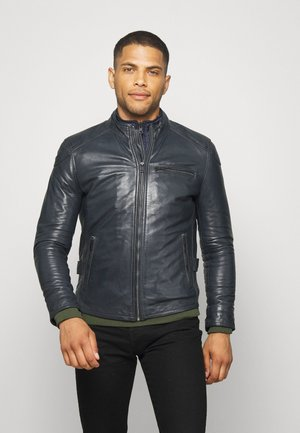 CHIC PARMENT - Leather jacket - navy