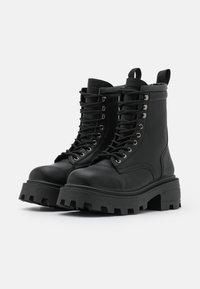 Topshop - BAE SQUARE TOE LACE UP - Platform ankle boots - black - 2