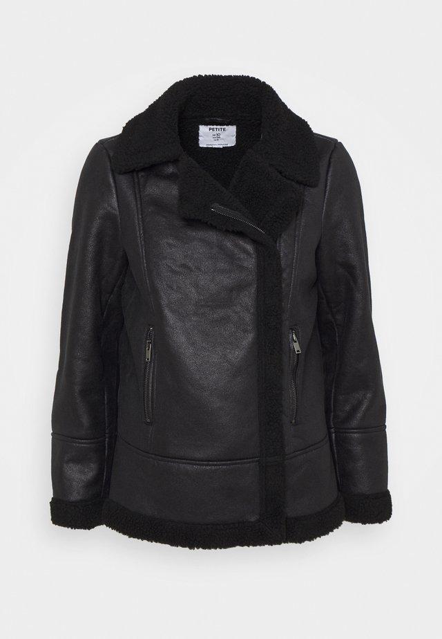COATED SHEARLING AVIATOR - Classic coat - black