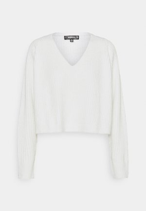 V NECK JUMPER - Pullover - white
