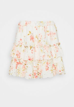 PRINT MIX RUFFLE MINI - Mini skirt - white