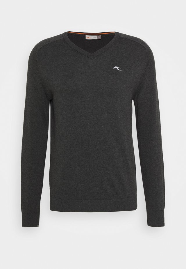 MEN KIRK V-NECK  - Jumper - black melange