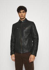 Lindbergh - LEATHER JACKET - Leather jacket - black - 0