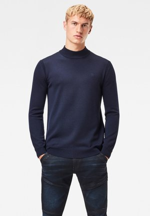PREMIUM CORE MOCK TURTLE LONG SLEEVE - Pullover - dk saru blue