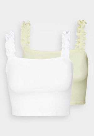 RUFFLE STRAP CROP 2 PACK - Topper - white/lemon