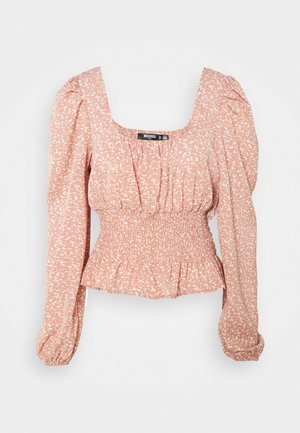 GATHERED WAIST PUFF BLOUSE - Pusero - pink