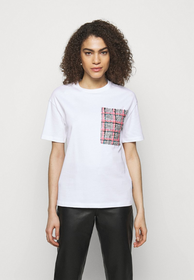 KARL LAGERFELD - BOUCLE POCKE - T-shirt imprimé - white