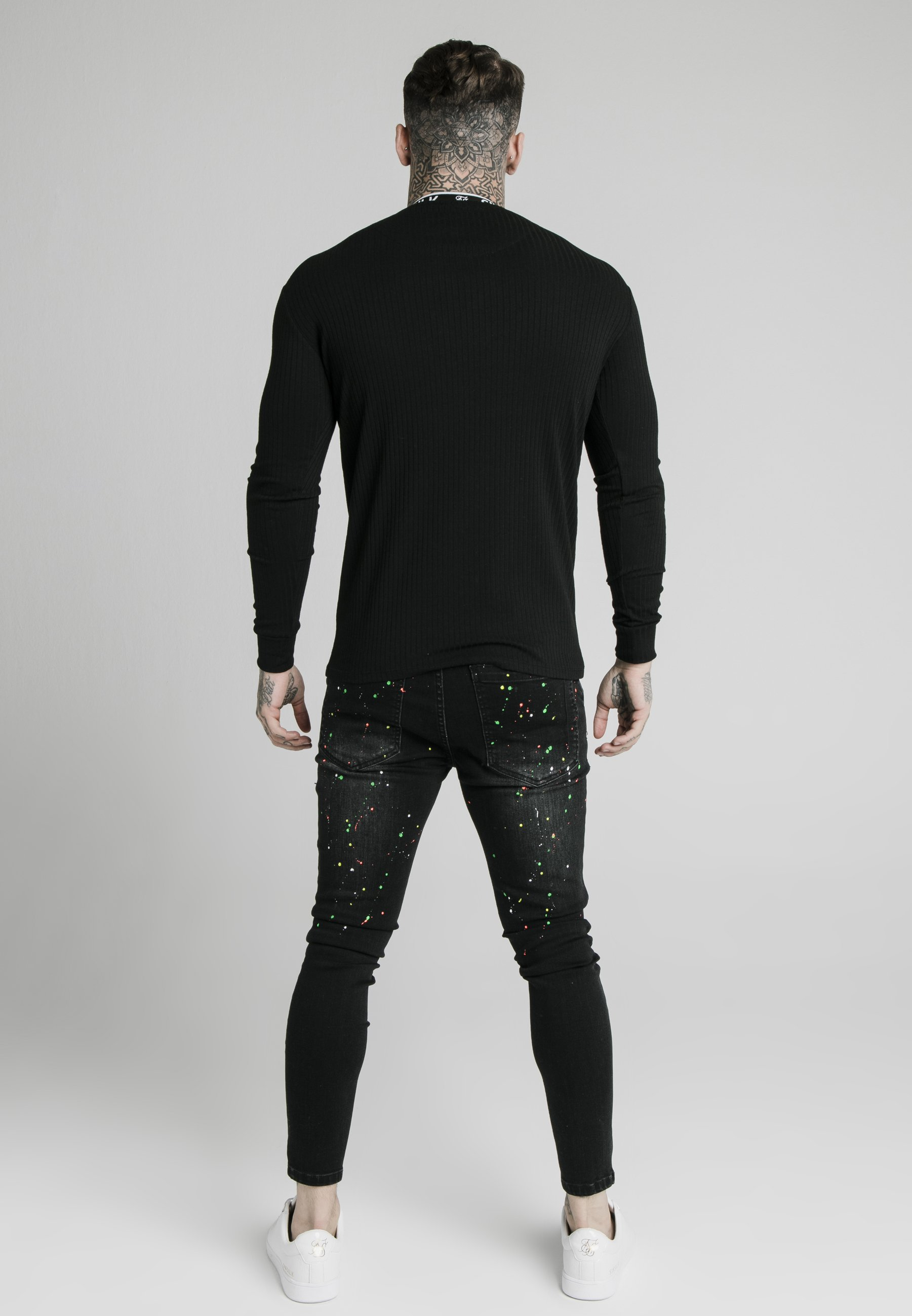 Siksilk Rib Knit Tee - Topper Langermet Black/svart