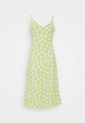CARE MIDI DRESSES WITH NARROW STRAPS AND SIDE SPLIT - Kjole - green