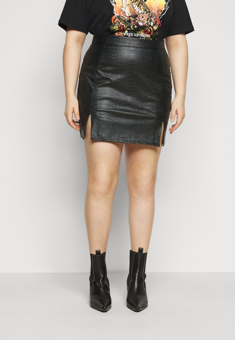 Missguided Plus - DOUBLE SPLIT CROC MINI SKIRT - A-line skirt - black