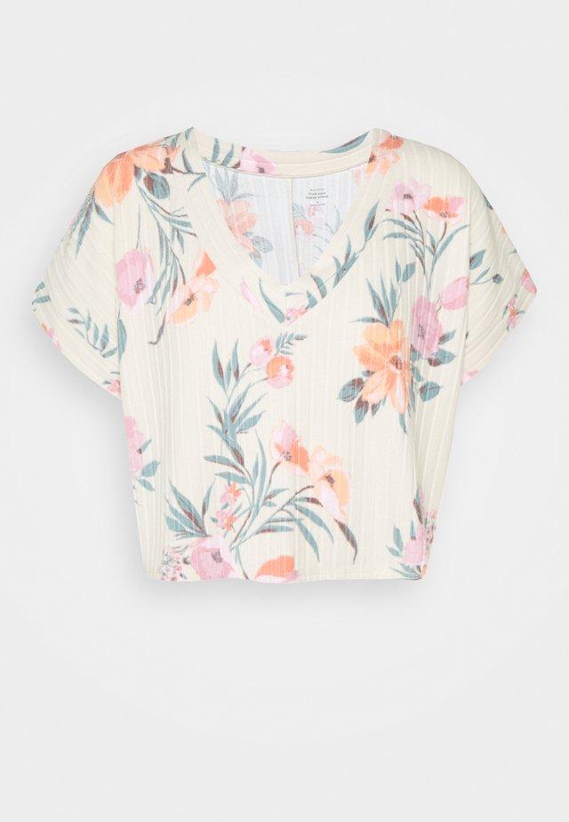 Pyjama top - oatmeal floral print
