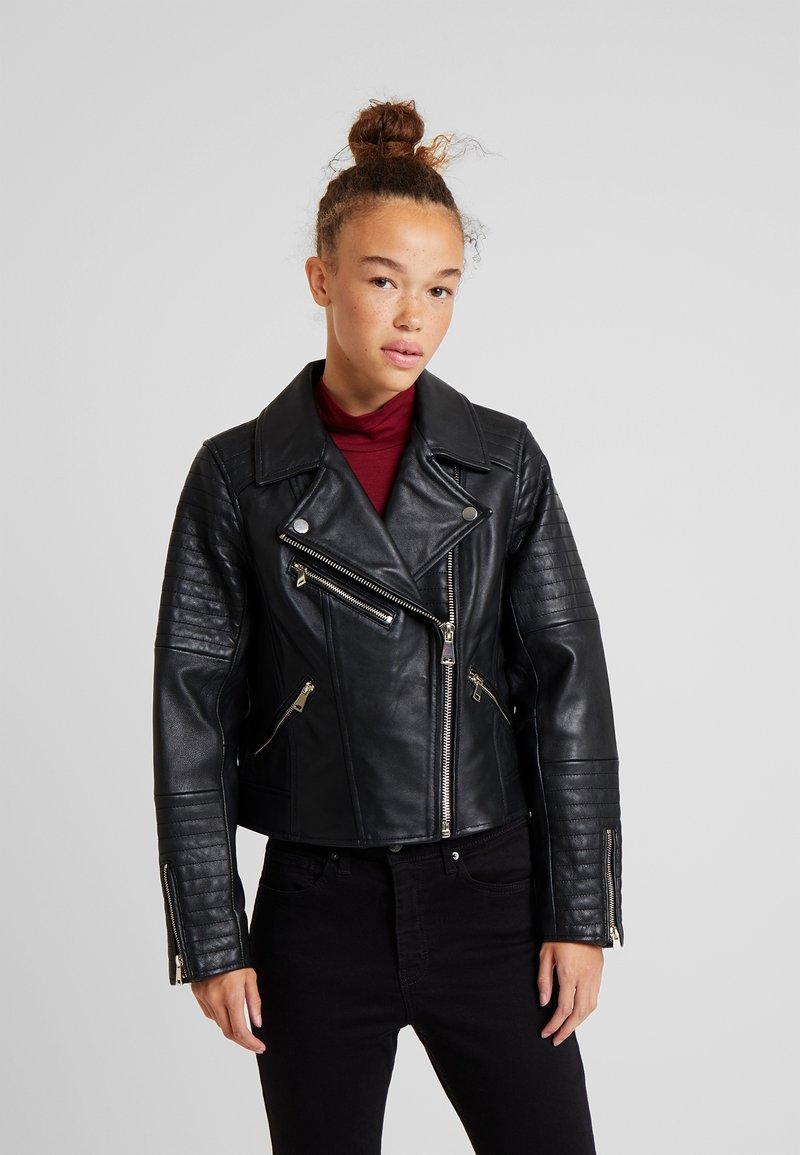 River Island Petite - CATO JACKET - Faux leather jacket - black