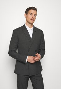 Isaac Dewhirst - RECYCLED CHECK DOUBLE BREASTED SUIT - Kostym - anthracite - 2