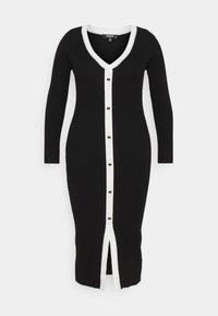 Missguided Plus - BUTTON THROUGH KNITTED CARDI DRESS - Jumper dress - black - 0