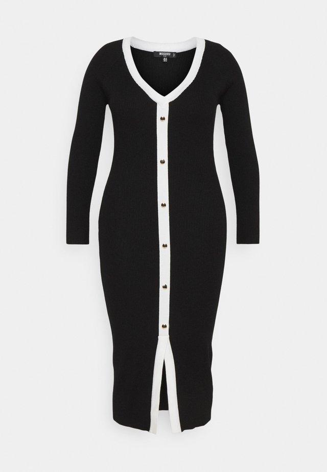 BUTTON THROUGH KNITTED CARDI DRESS - Gebreide jurk - black
