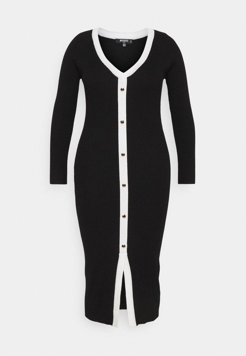 Missguided Plus - BUTTON THROUGH KNITTED CARDI DRESS - Jumper dress - black