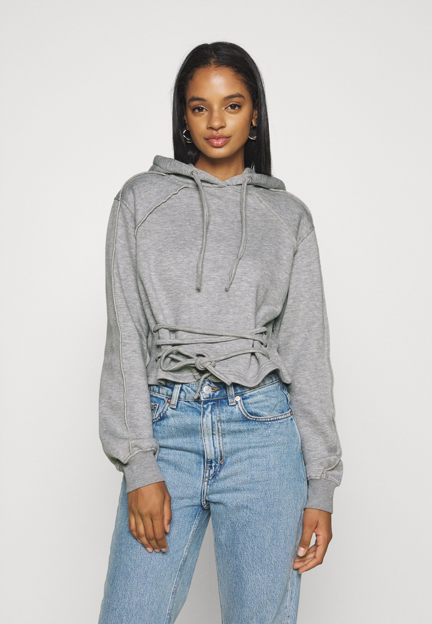 Donna LACE UP FRONT DETAIL LONG SLEEVE HOODIE - Felpa