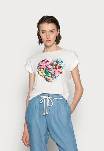 CAMISETA FLOR TROPICAL - Print T-shirt - tan