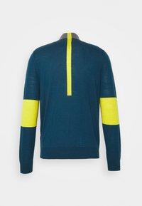 PS Paul Smith - MENS ZIP NECK - Svetr - petrol/dark grey melange/yellow - 6