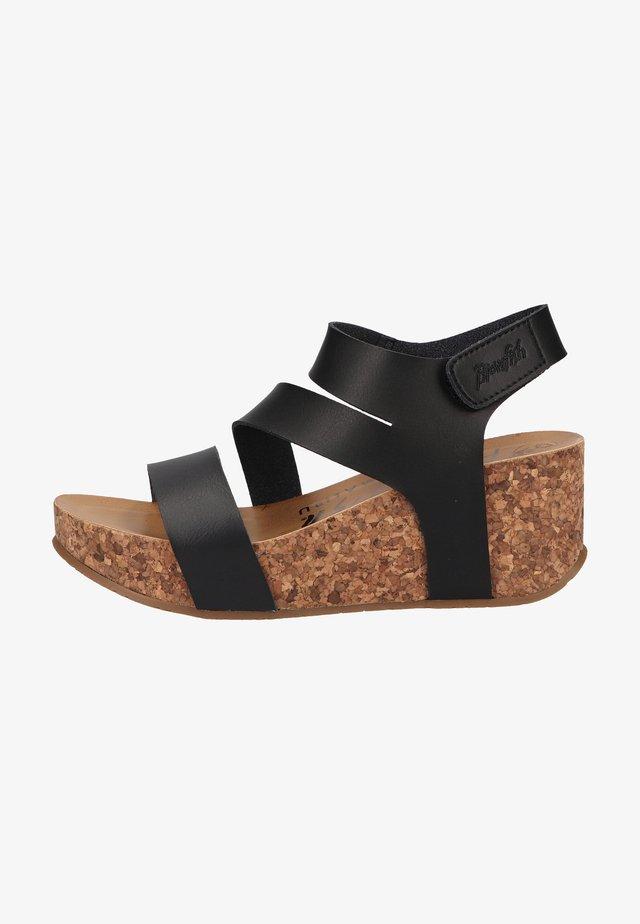 VEGAN LEELEE - Platform sandals - black dyecut