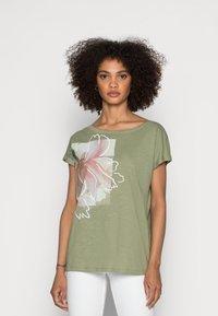 Esprit - BOAT NECK - Print T-shirt - light khaki - 0