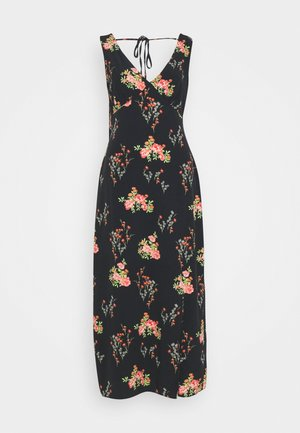DRESS FLORAL SPLIT - Robe d'été - black/pink